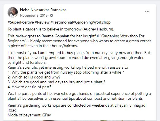 Feedback of Gardening Workshop by Neha Ratnakar